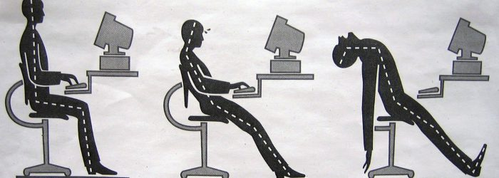 Office ergonomics diagram showing the right and wrong way of incorporating ergonomics in the workplace.