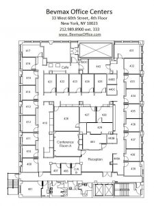 Upper West Side Office Floor Plan for the 4th Floor at 33 West 60th Street in New York City.