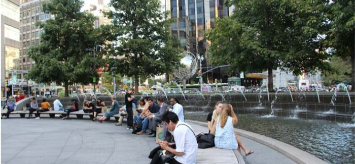 New Yorkers taking a break from work in the Upper West Side of Manhattan.