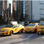 Taxi cabs outside of the 33 West 60th Street office building