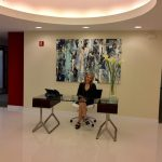 Reception Area and Receptionist at Bevmax's 5 Columbus Circle Office Building.
